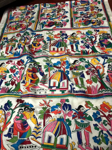 White Custom Made Kantha Stitched Saree on Pure Bangalore Silk