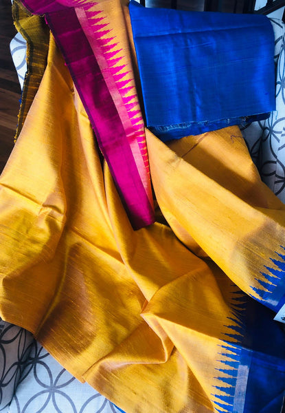 Mustard Pure Tussar Silk with Ganga Jamuna Double Border in Pink and Blue