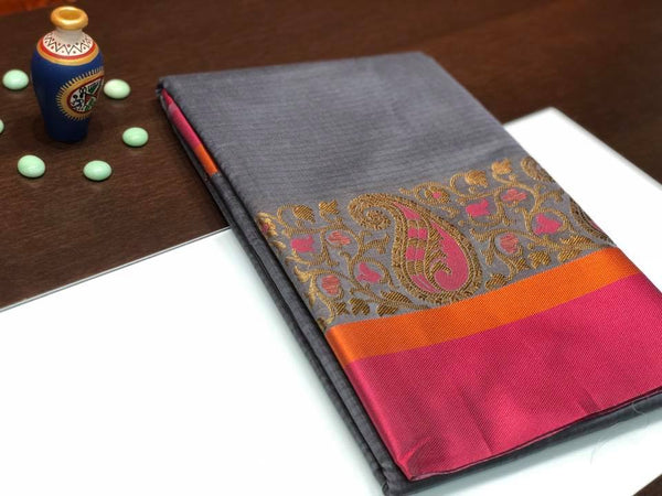 Grey and Pink Colored Paisley Saree with Pink and Orange Border