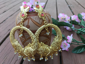 Beautiful Antique MeenaKari Earrings With Pink Stones & With White Pearls