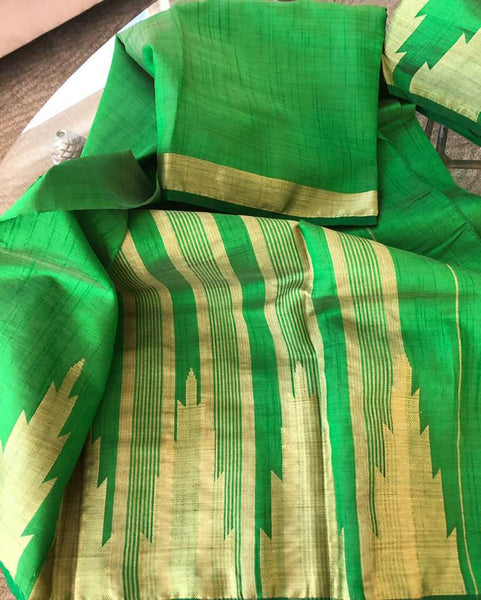 Green and Gold Handloom Tussar Silk Saree with Modern Golden Temple Border Saree