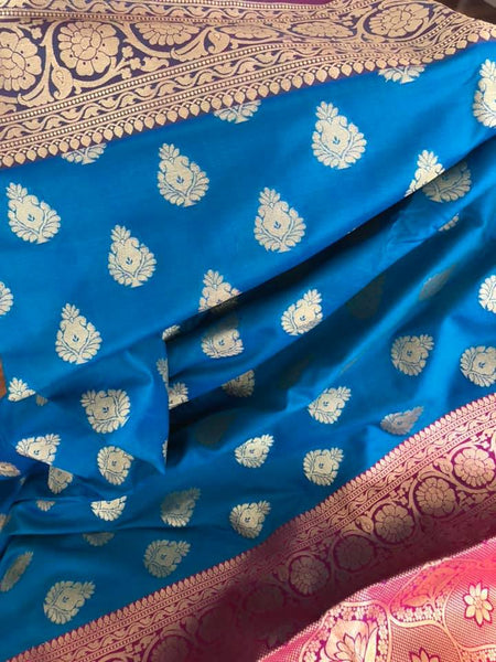 Turquoise & Pink Soft Silk Saree with Golden Motifs all over with Purple Border and Pink and Golden Aachal