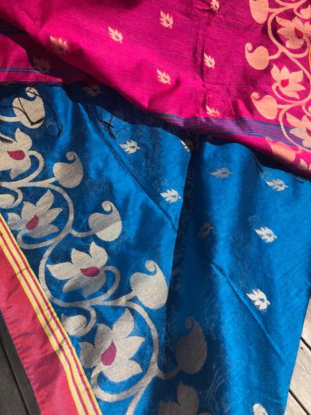 Handloom Silk Cotton Saree with the Body color of Blue with Pink Aachal