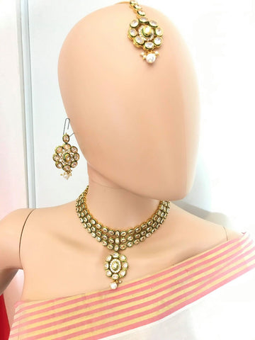 Gold Plated White Stone Choker Necklace Set With Matching Earrings & Mang Tika.