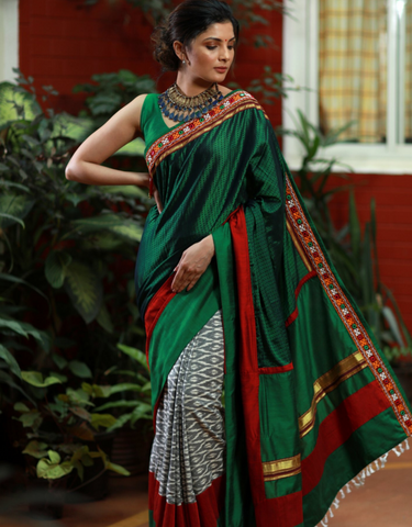 EXCLUSIVE KHUN & IKAT COMBINATION SAREE WITH MIRROR WORK BORDER