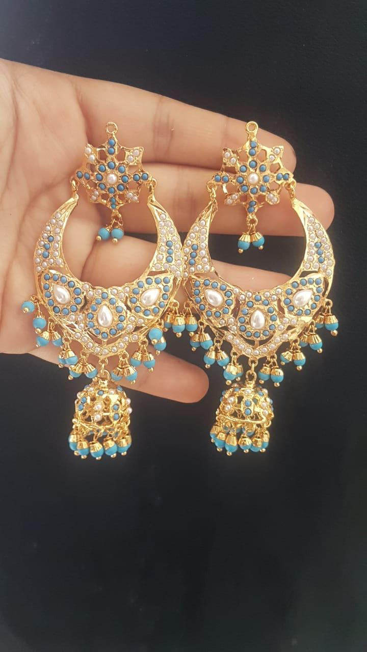 Gold Plated Sky Blue Stone Studded Jhumka Pearl Earrings