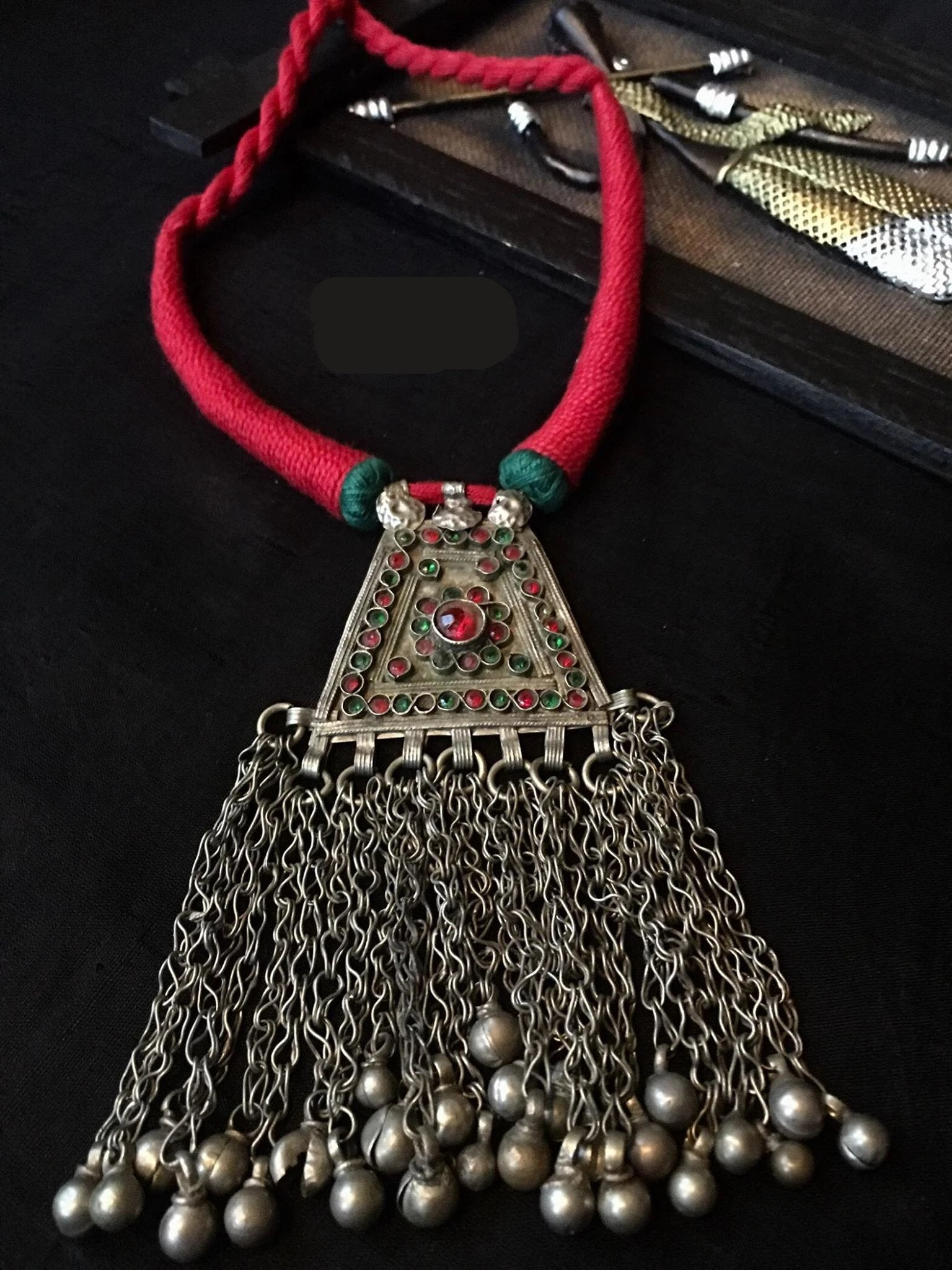 Beautiful Afghan Style Piece Of Necklace With Red & Green Stones