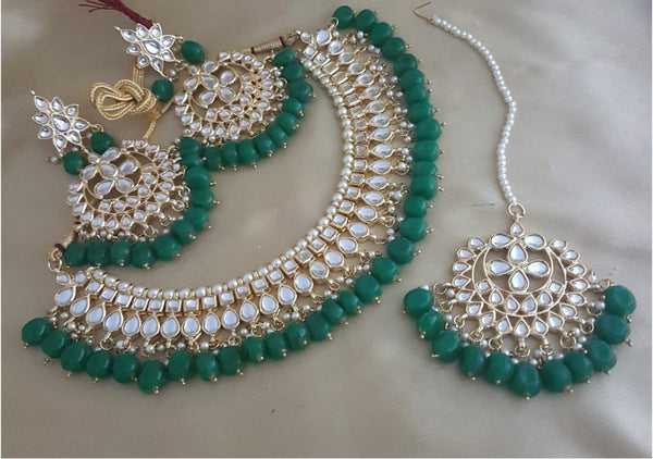 Gold Plated Kundan Choker Necklace Set with Green Beads & Matching Mang Tika & Earrings