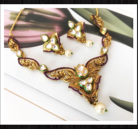 Gold Plated Designer Choker Necklace Set with Matching Earrings & White Pearls