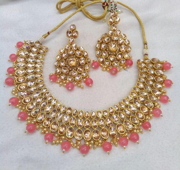 Gold Plated Kundan Choker Necklace Set with Pink Beads & Matching Earrings
