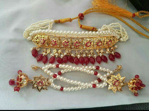 Choker Jaddau Set With Pearls & Ruby Combined With Red Beads & Matching Earrings