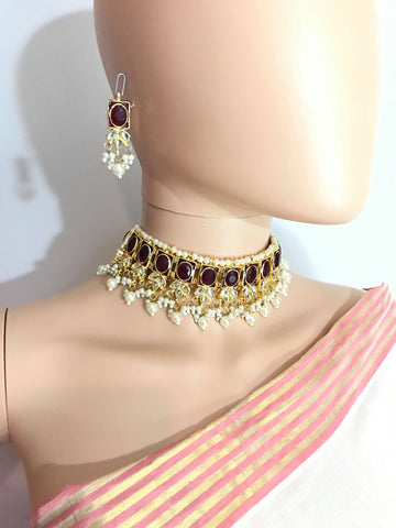 Gold Plated Kundan Choker Necklace Set with Maroon Stones & White Pearls & Matching Earrings