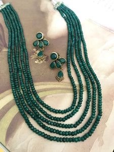 5 Layered Green Colored Beaded Mala With Earrings