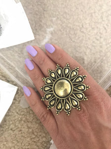 Round Shaped Gold Colored German Silver Ring