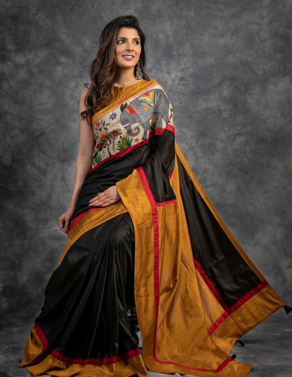 BLACK SEMI SILK SAREE WITH EXCLUSIVE KANTHA WORK COMBINATION