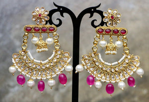 Gold Plated Kundan Earrings with Maroon Regular Stones & White Pearls & Pink Beads