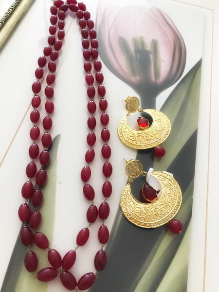 Red Colored Beaded Maala's and Earrings