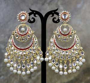 Red Colored Kundan Dangler Earrings