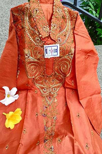 Orange Pure Soft Silk Embroidered Kurta Pajama Set