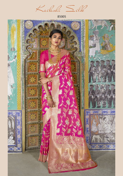Bright Pink (Rani) Colored Designer Silk Blend Saree
