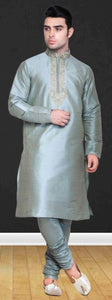 Steel Grey Pure Silk Mens Long Kurta Pajama Set