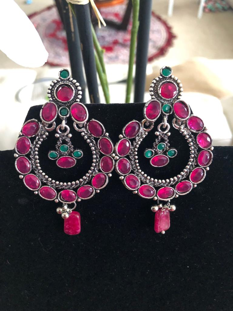 Pink & Green Stone Jaipuri Earrings