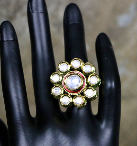 Adjustable Kundan Meenakari Finger Ring