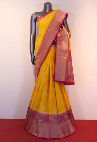 Yellow & Pink Handloom Silk Cotton Saree