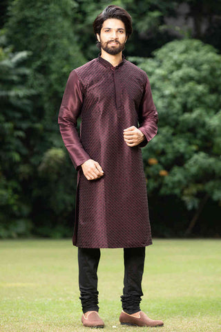 Men's Pantone Wine Color Kurta with Black Churidar