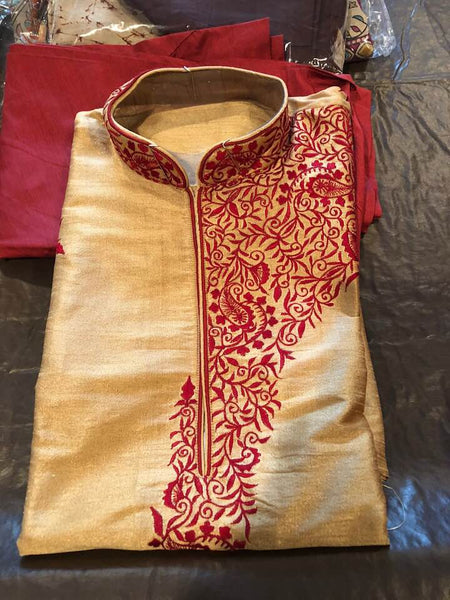 Mens Tussar Silk Kurta Pajama Set with Red Thread Embroidery Work on Sleeves, Back, and Front