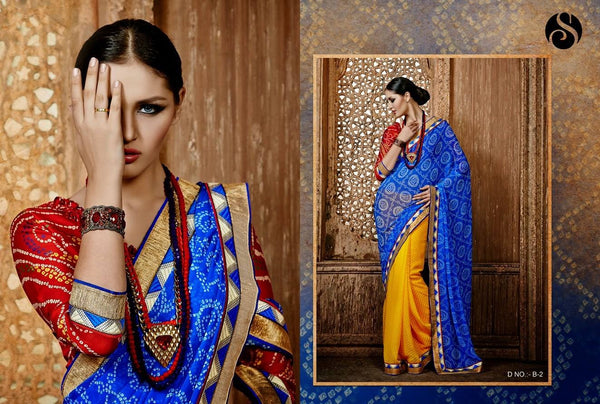 Blue & Yellow Colored Bright & Bold Bandhani Chiffon Saree
