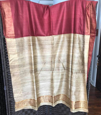 Maroon and Tussar Ghiccha colored Pure Handwoven Bhagalpuri Handloom Silk Saree with Ghicca Pallu with Golden Border