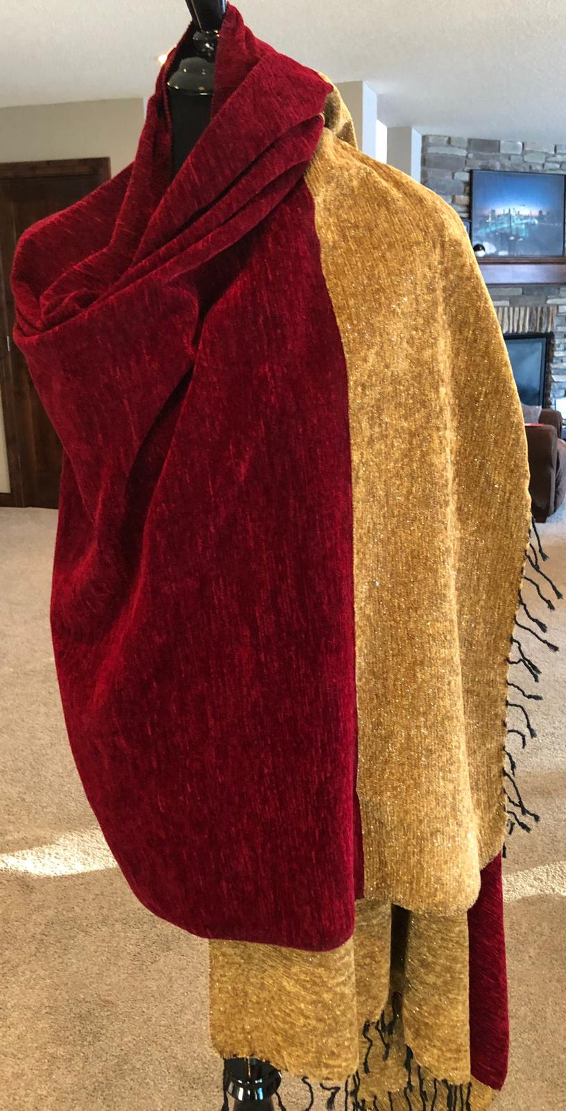 Deep Maroon Velvet Shawl with contrast Brownish Shimmering border with Black Tassels