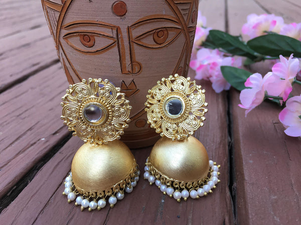 Beautiful Antique MeenaKari Earrings with White Pearls