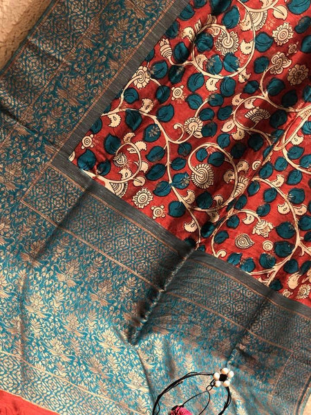 Sea Green & Red Soft Tussar Raw Silk Saree with Kalamkari Prints and Copper Zari Border and Pallu