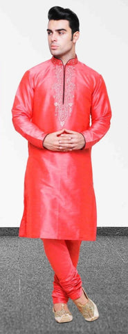 Red Silk Mens Long Kurta Pajama Set