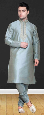 Grey Silk Mens Long Kurta Pajama Set