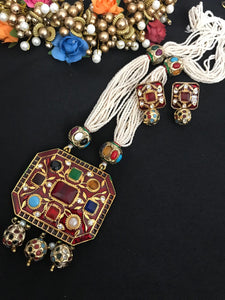 Long Multicolored Stone Kundan Necklace Set with Matching Earrings