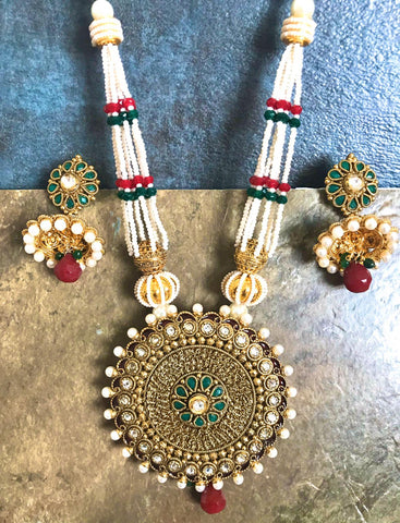 Gold Plated Pearl Necklace Set With Green & White Beaded Jhumka Matching Earrings