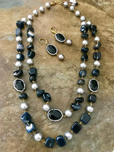 Long 2 Layered Dark Blue Semi Precious Mala Set With Matching Earrings