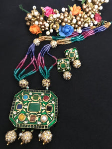 Long Green Multicolored Stone Kundan Necklace Set with Matching Earrings
