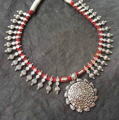 Red Threaded Dual Tone German Silver Necklace