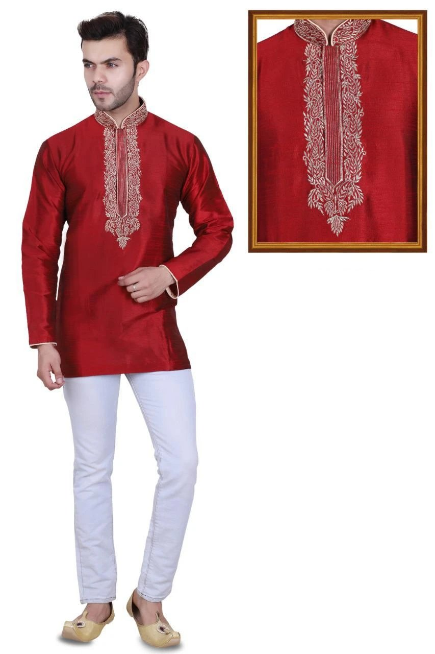 Red Colored Embroidered Art Raw Silk with Hand and Machine Work Mens Short Kurta
