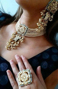 Gold Plated Kundan Multilayered Pearl Studded Necklace Set With Finger Ring & Matching Earrings