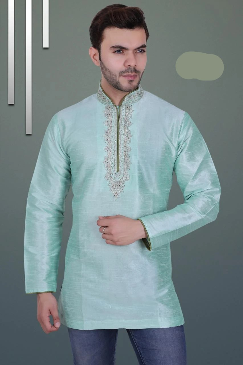 Sea Green Colored Embroidered Art Raw Silk with Hand and Machine Work Mens Short Kurta