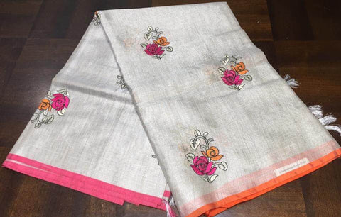 Double Shaded Ganga Jamuna Cotton Silk Tissue Saree In Contrast Color
