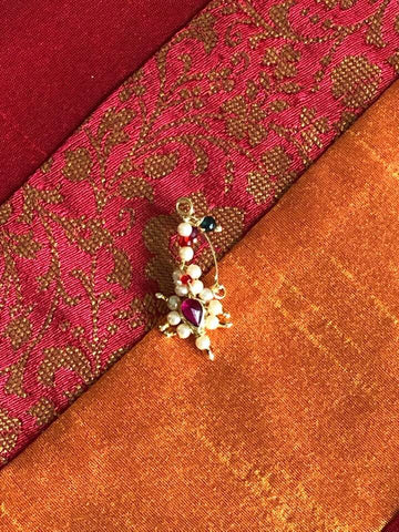 Traditional Maharashtrian Nath Nose Ring In Pink Stone With Pearl Design
