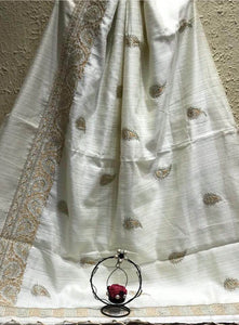 Elegant White Tusser Silk Saree With Golden Silver Embroidery Work