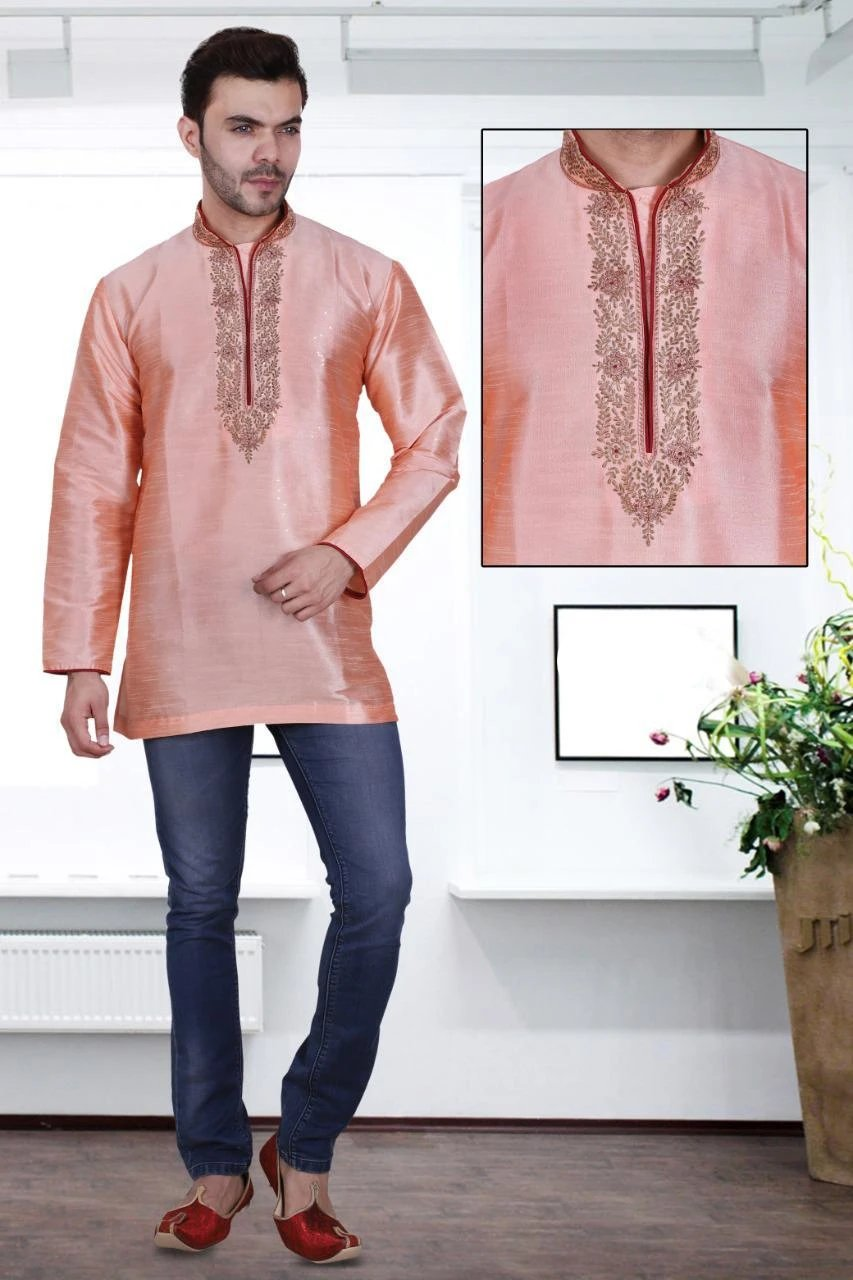 Peach Colored Embroidered Art Raw Silk with Hand and Machine Work Mens Short Kurta