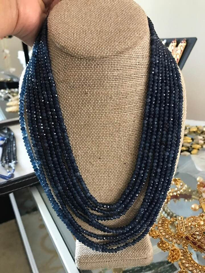 Deep Blue 8 Layer Garnet Necklace